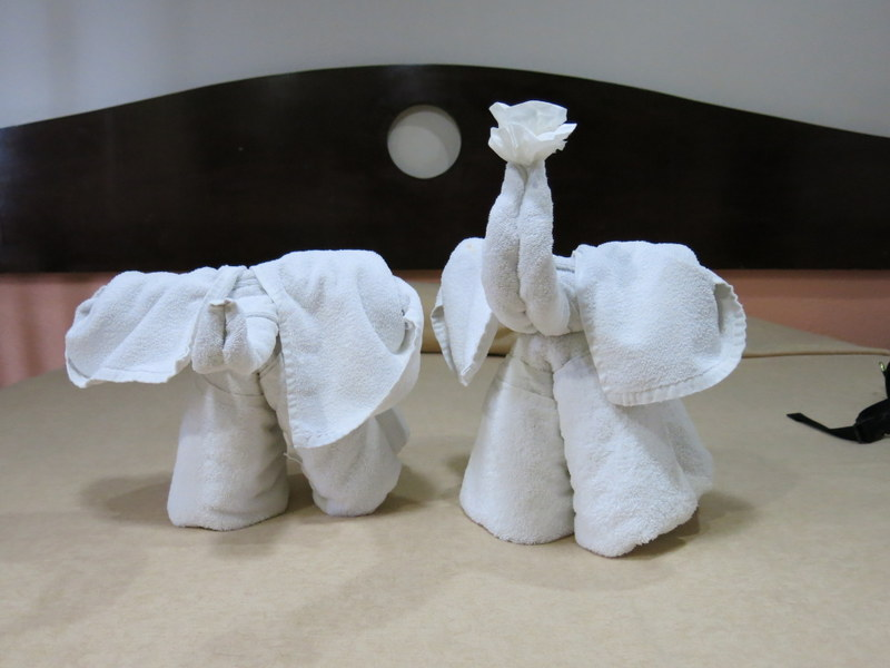 Elephants to greet us in our hotel room this time