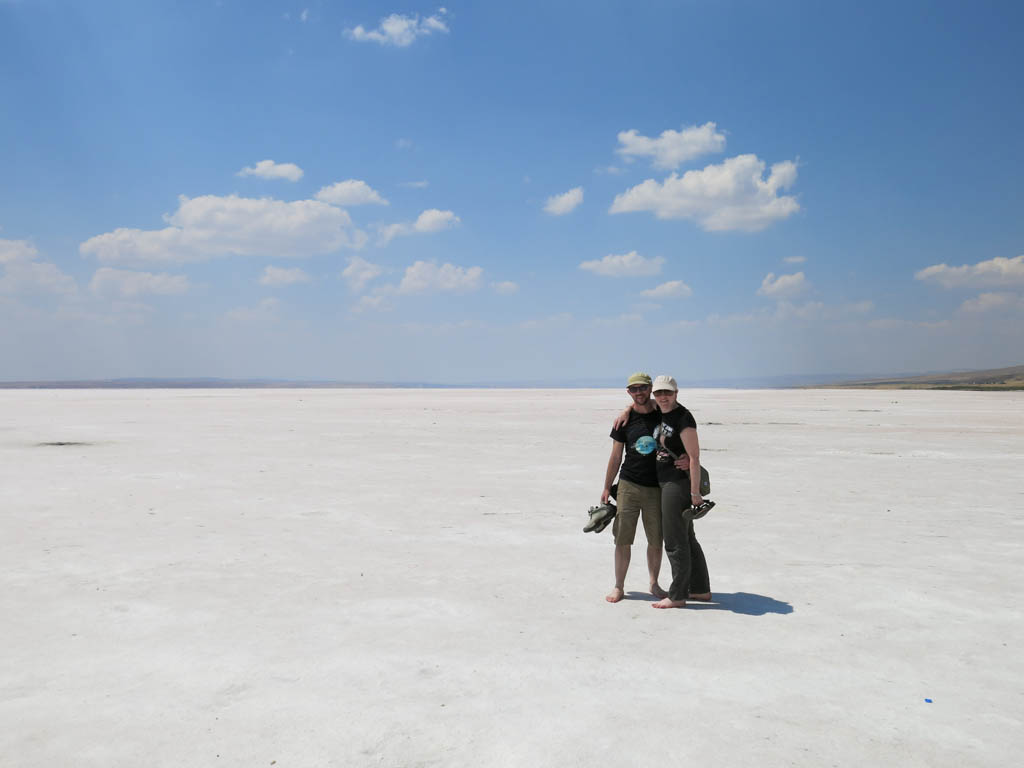 barren salt lake (other tourists conveniently out of shot)