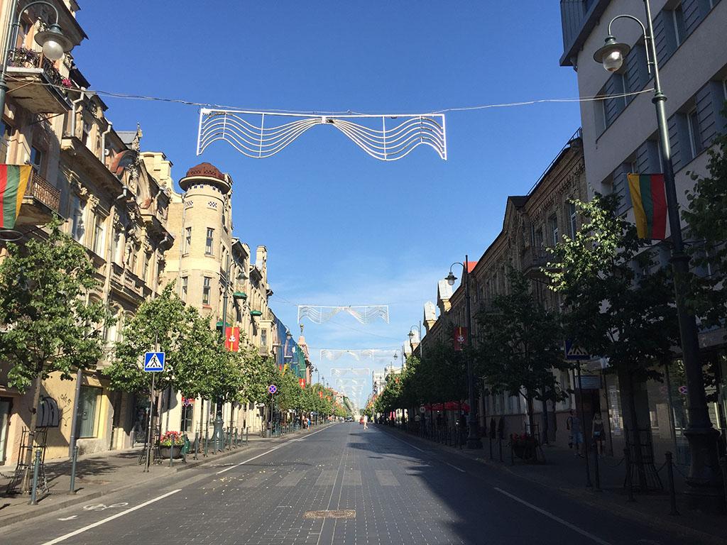 the quiet main street of vilnius